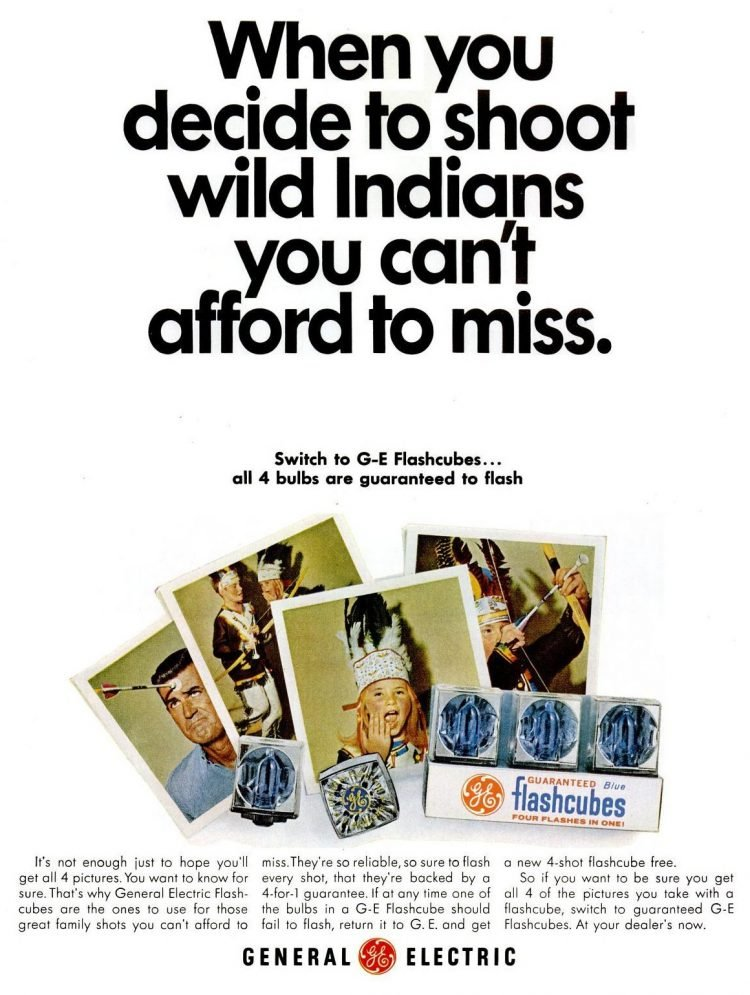 1966 ad for GE photo flash cubes - Shoot wild Indians