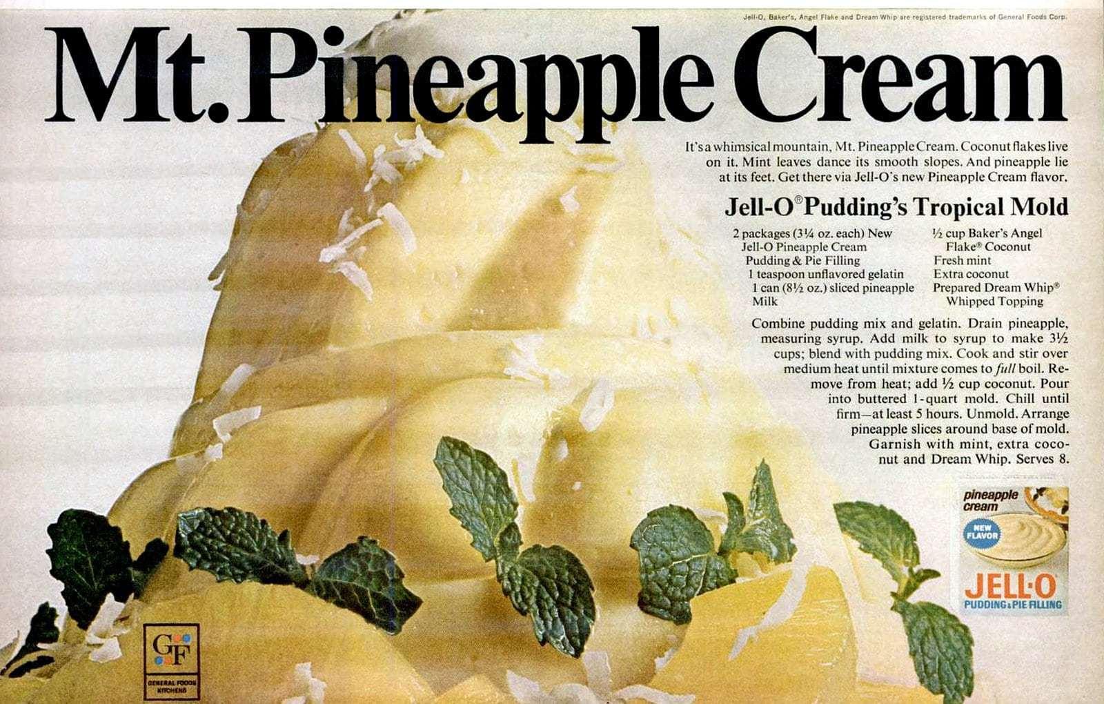 1967 Jello pineapple cream recipe - tropical