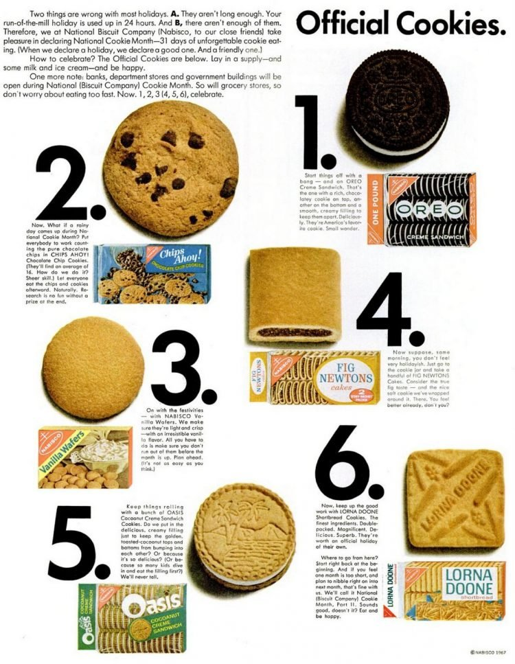 1967 Vintage old-school packaged cookies, including Oreo and Vanilla Wafers