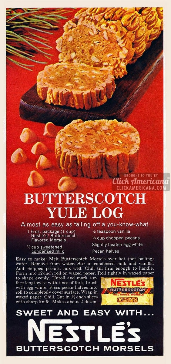 Butterscotch yule log recipe (1967)