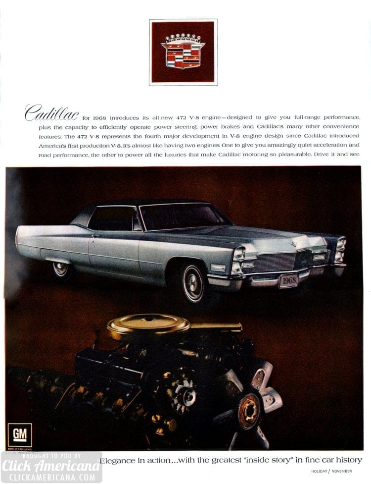 1968 Cadillac cars - ad from 1967