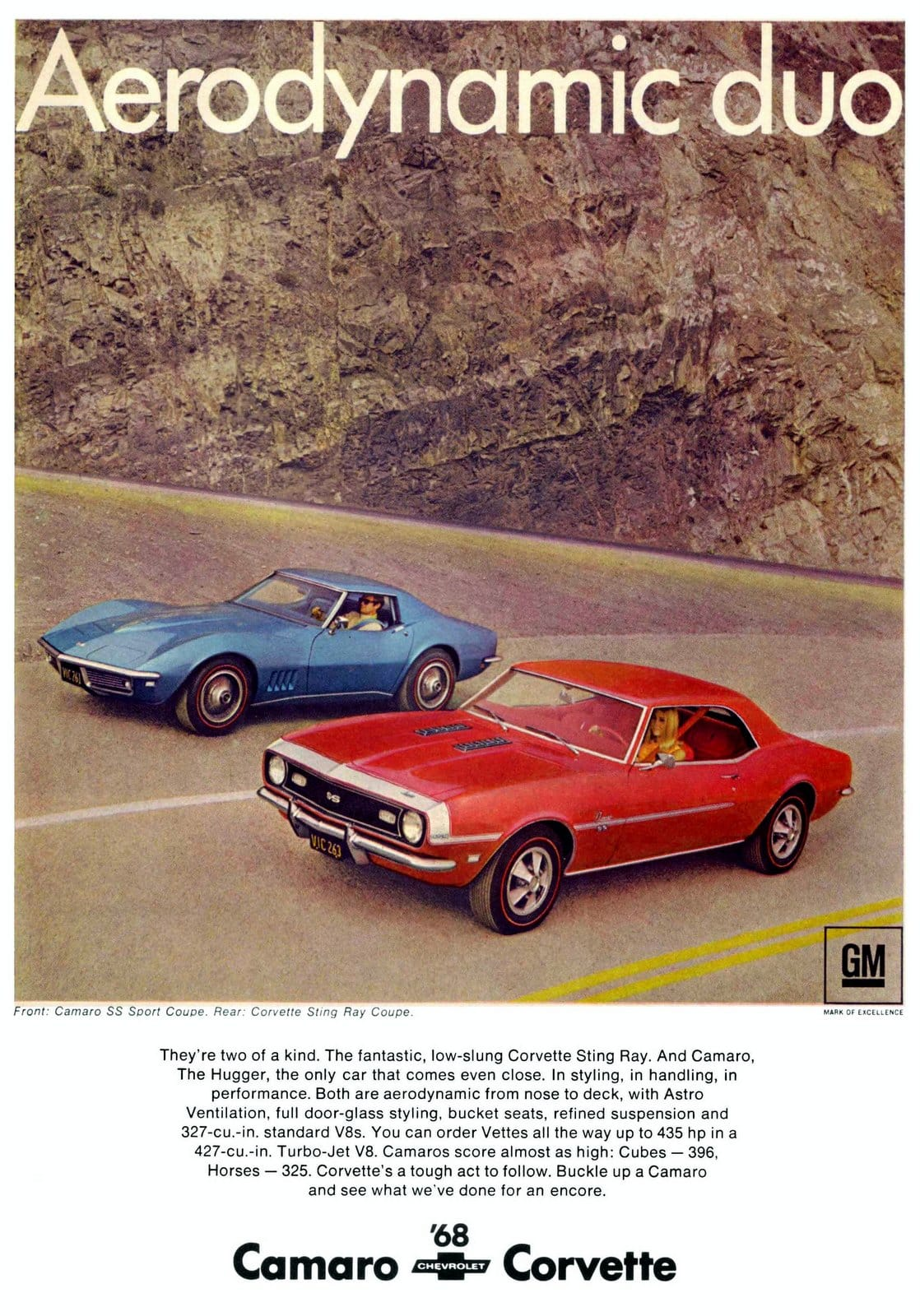 1968 Camaro SS Sport Coupe and Corvette Sting Ray Coupe.