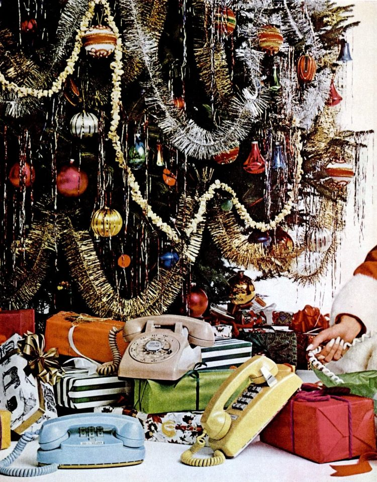 1968 Christmas tree with colorful old phones