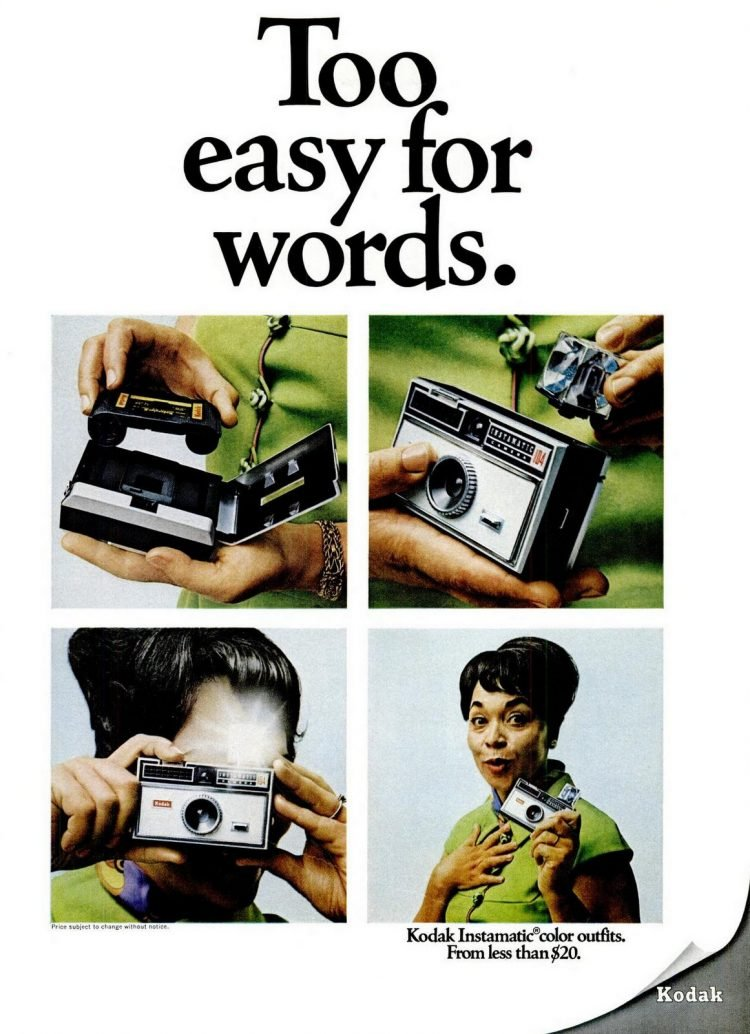 1968 Instamatic camera loading and flash cube