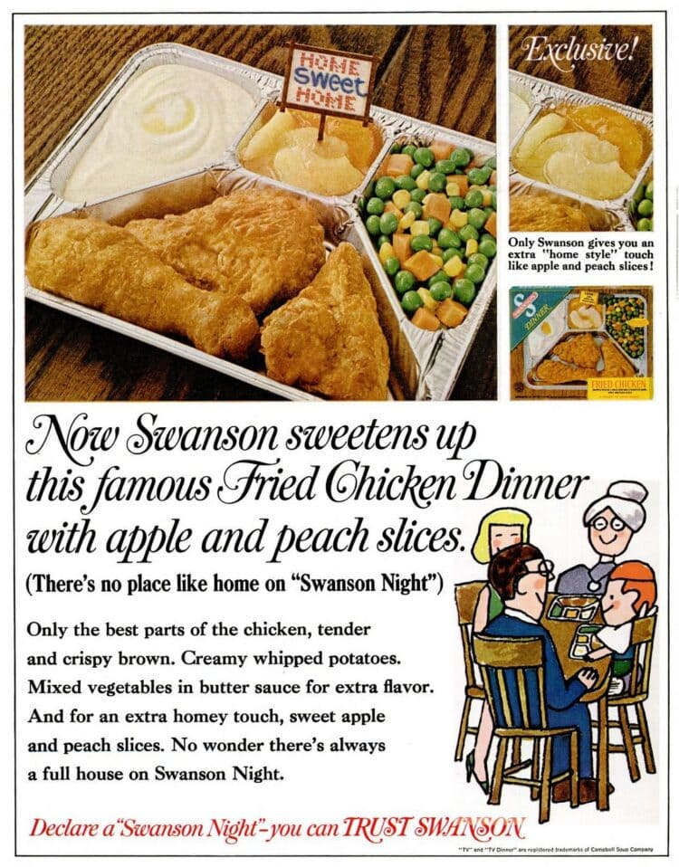 1968 Vintage TV dinner with fried chicken and apple and peach slices