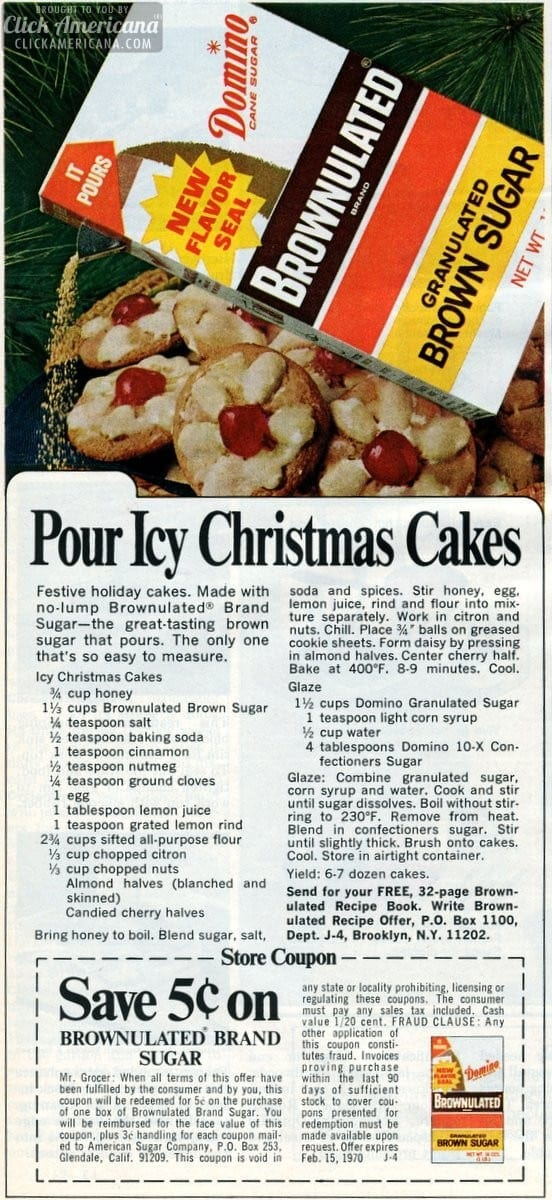 Icy Christmas Cakes recipe (1969)