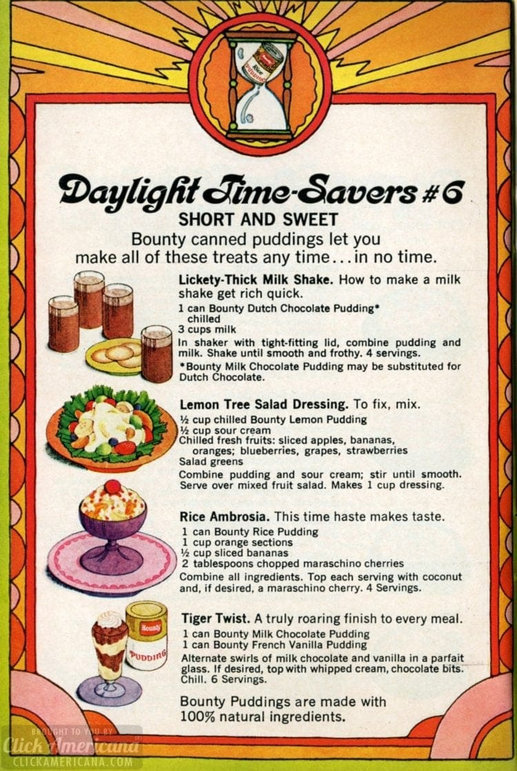 1969 Summer recipes - Bounty canned puddings