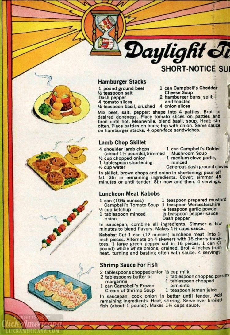 1969 Summer recipes - Short-notice suppers