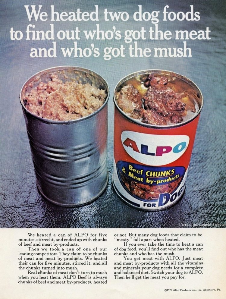 1970 Vintage Alpo dog food in cans