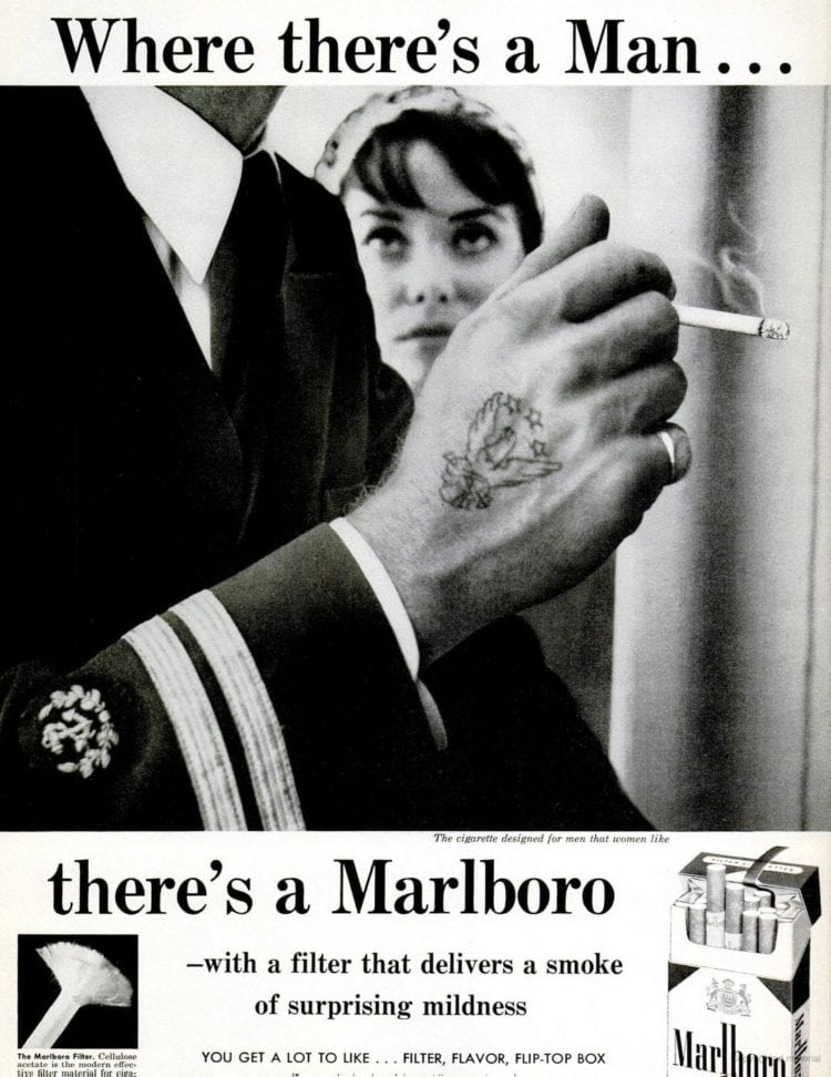 1970 - Where there's a man, there's a Marlboro cigarette vintage ad
