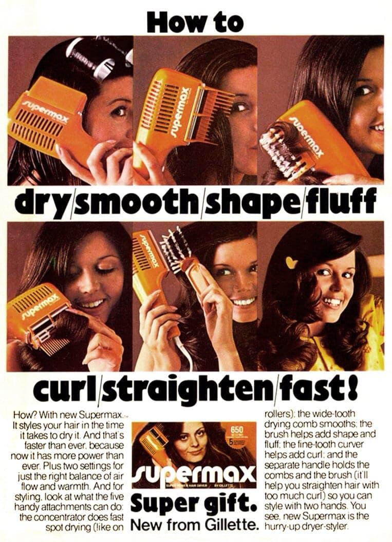1970s vintage Gillette Supermax hair dryer styler