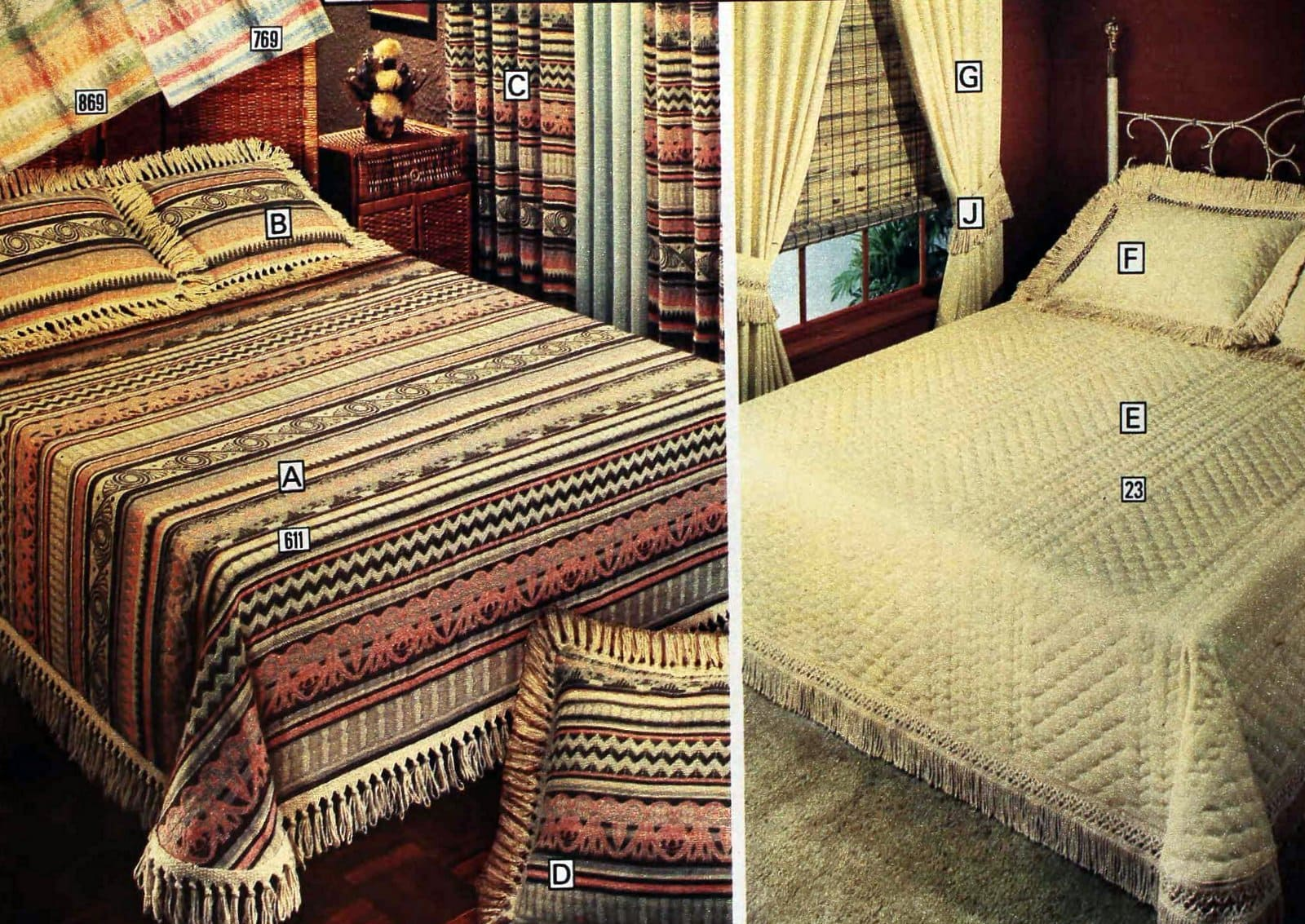 1970s Karim and Bokhara textured bedspreads