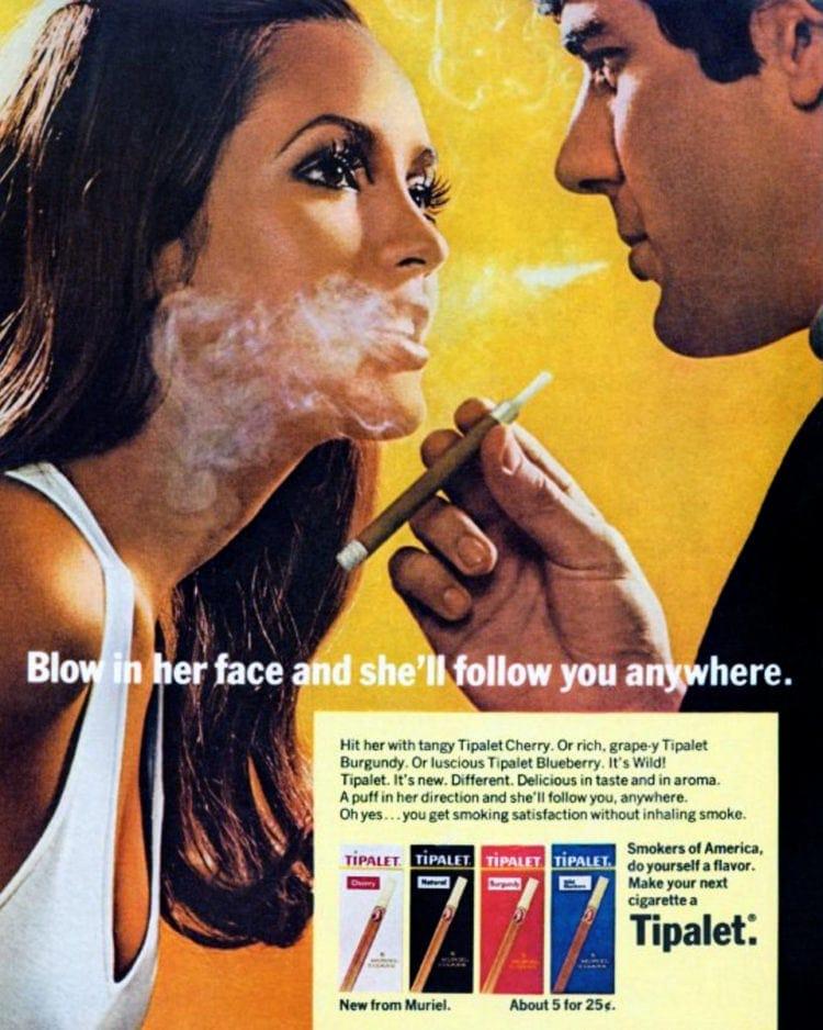 1970s Tipalet cigarette vintage sexist ad