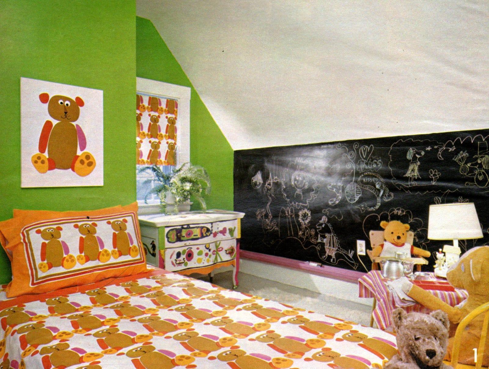 1970s kids bedroom decor with teddy bear pattern (1972)