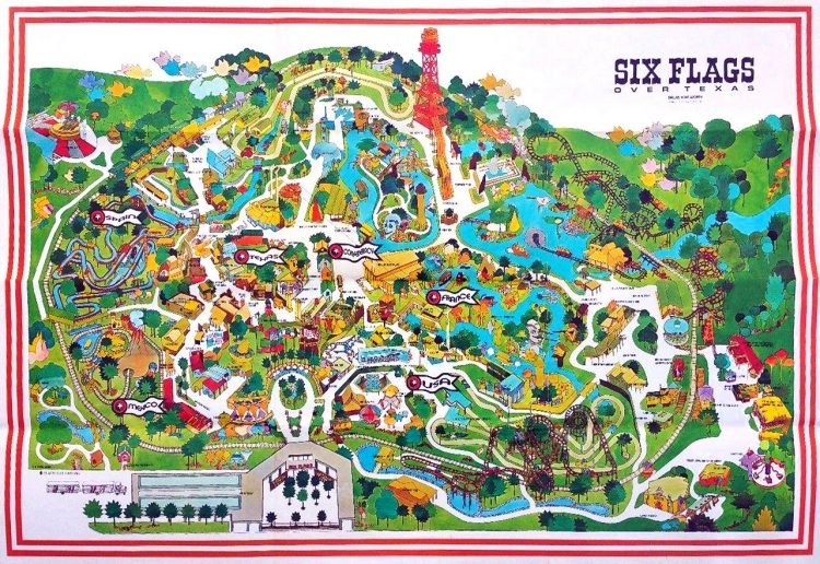 1970s map of vintage Six Flags over Texas