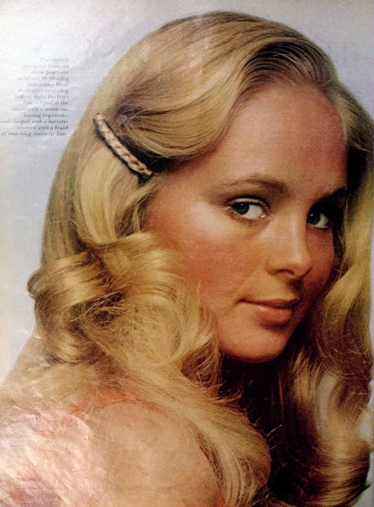1970s woman with long blonde hairstyle (1971)