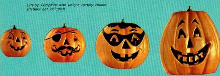 1971 Plastic halloween pumpkin lamps jack o lanterns for a Meet 'n Treat Halloween party