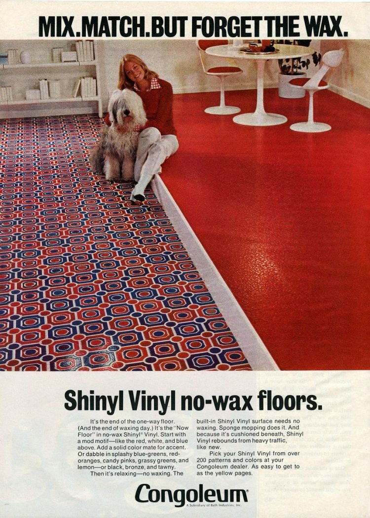 1971 Shinyl congoleum floors