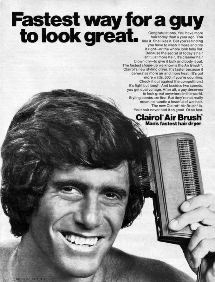 Not just more hair, guys - cleaner hair, blown dry (1971)