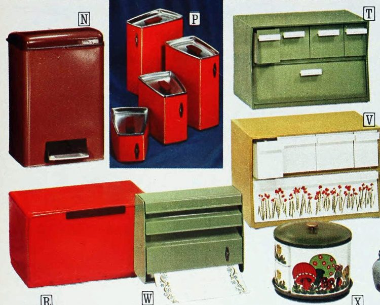 1971 kitchen breadboxes and storage canisters