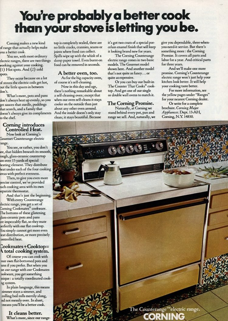 1972 Corning Countterange electric smooth surface stove range