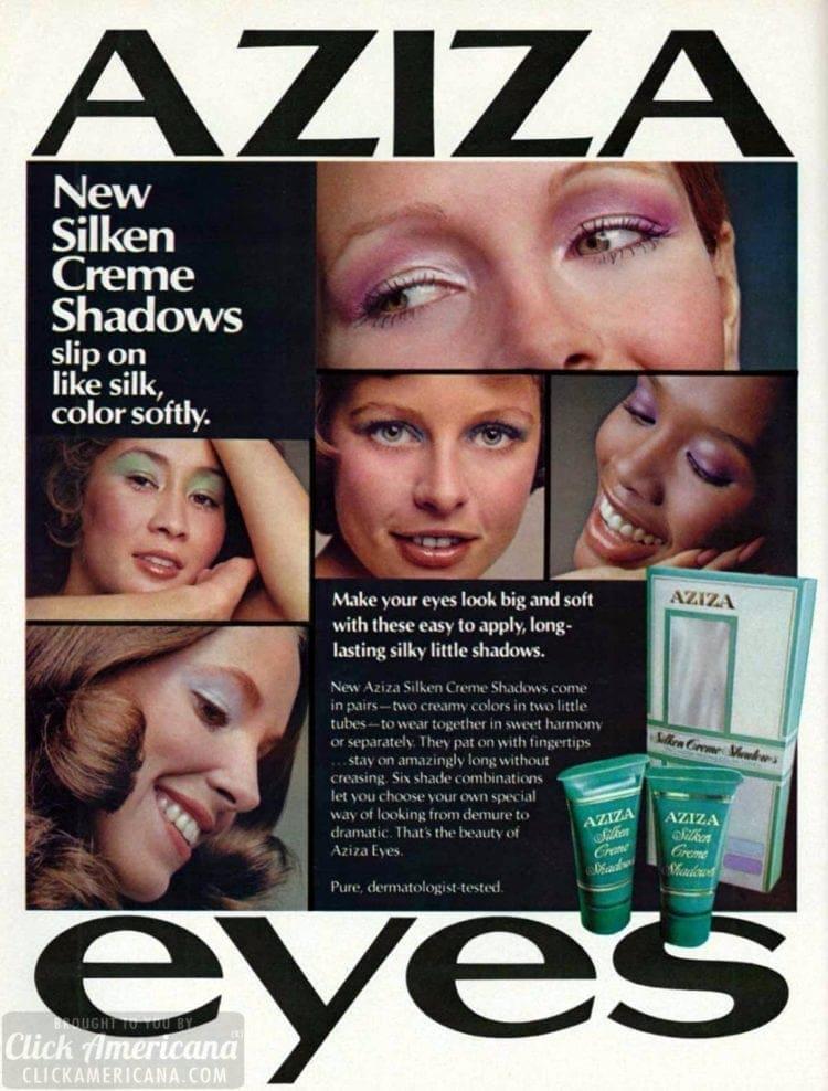 Retro pastel eye makeup with Aziza cream eyeshadows from 1972