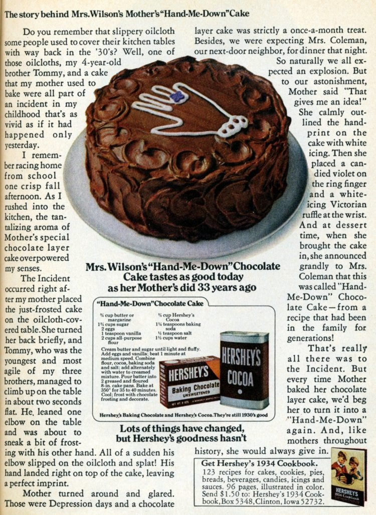 1972 Hershey's Hand-me-down chocolate cake recipe (2)