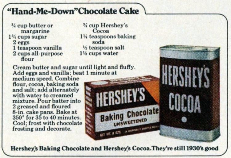 Hand Me Down Chocolate Cake Recipe 1972 Click Americana