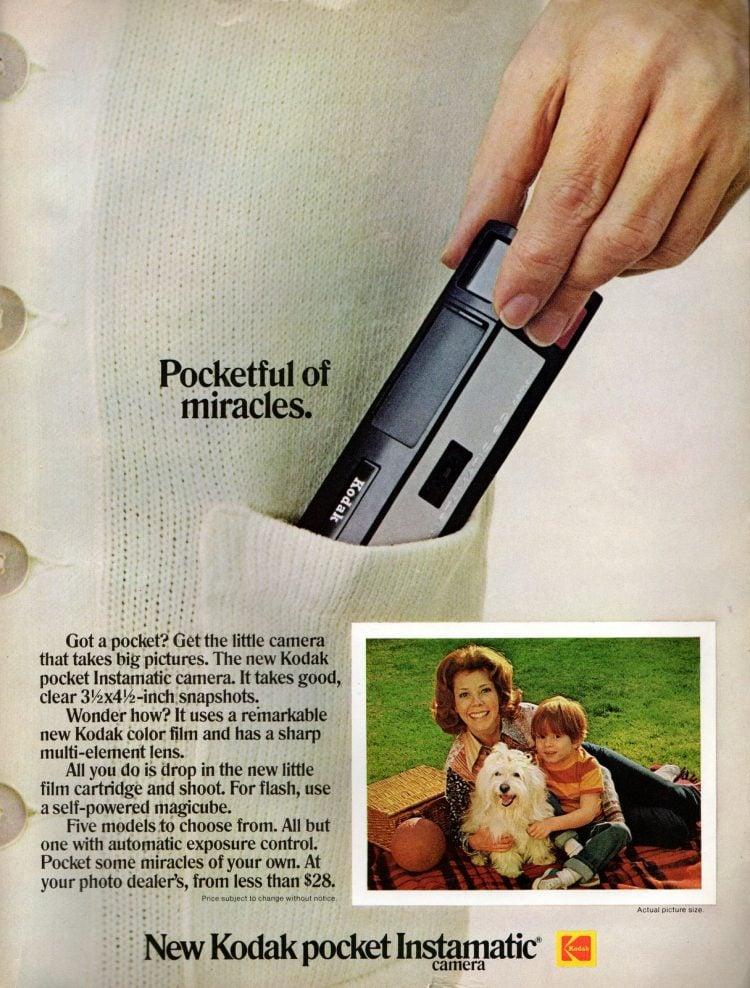 1972 Kodak Pocket Instamatic cameras