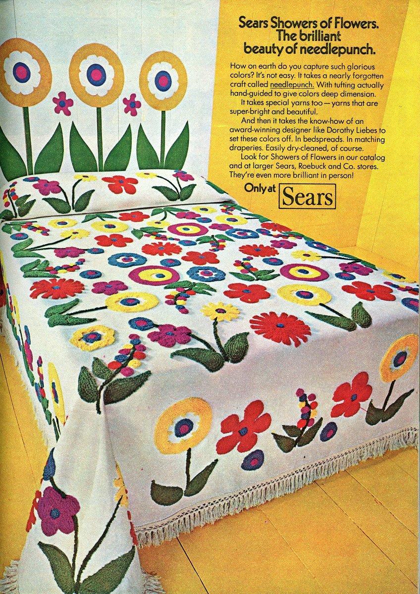 1972-Showers of Flowers needlepunch bedspread