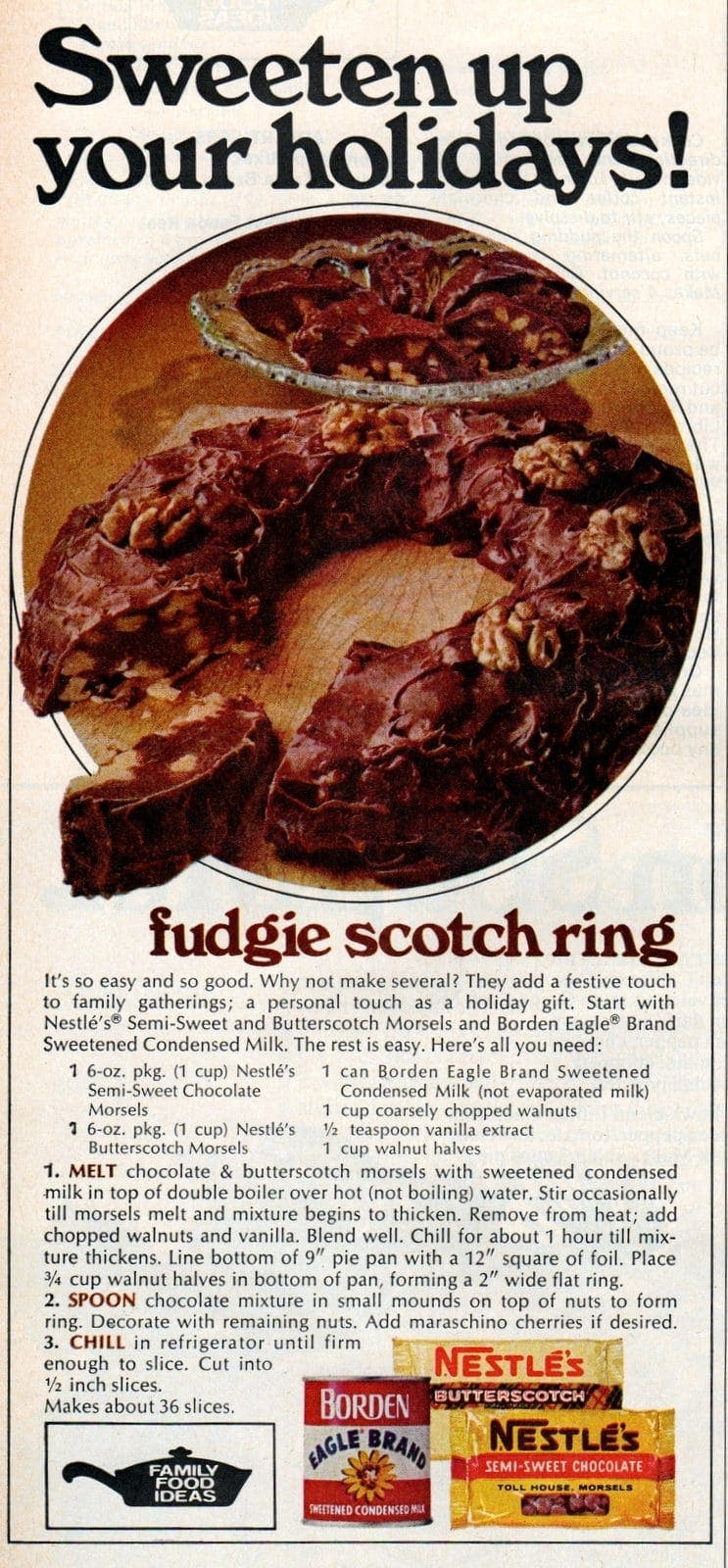 Fudgie-Scotch Ring dessert recipe (1972)