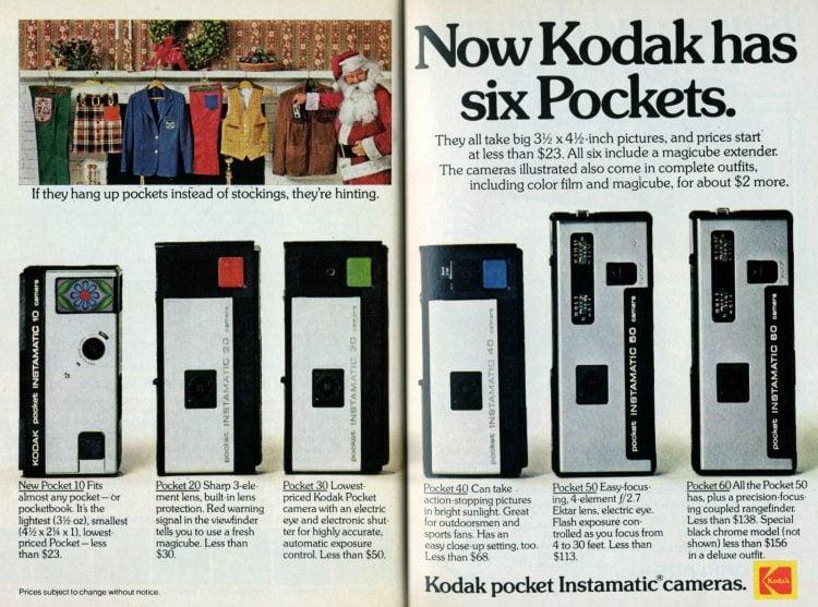 1973 - Line of 6 Kodak Pocket Instamatic 110 cameras