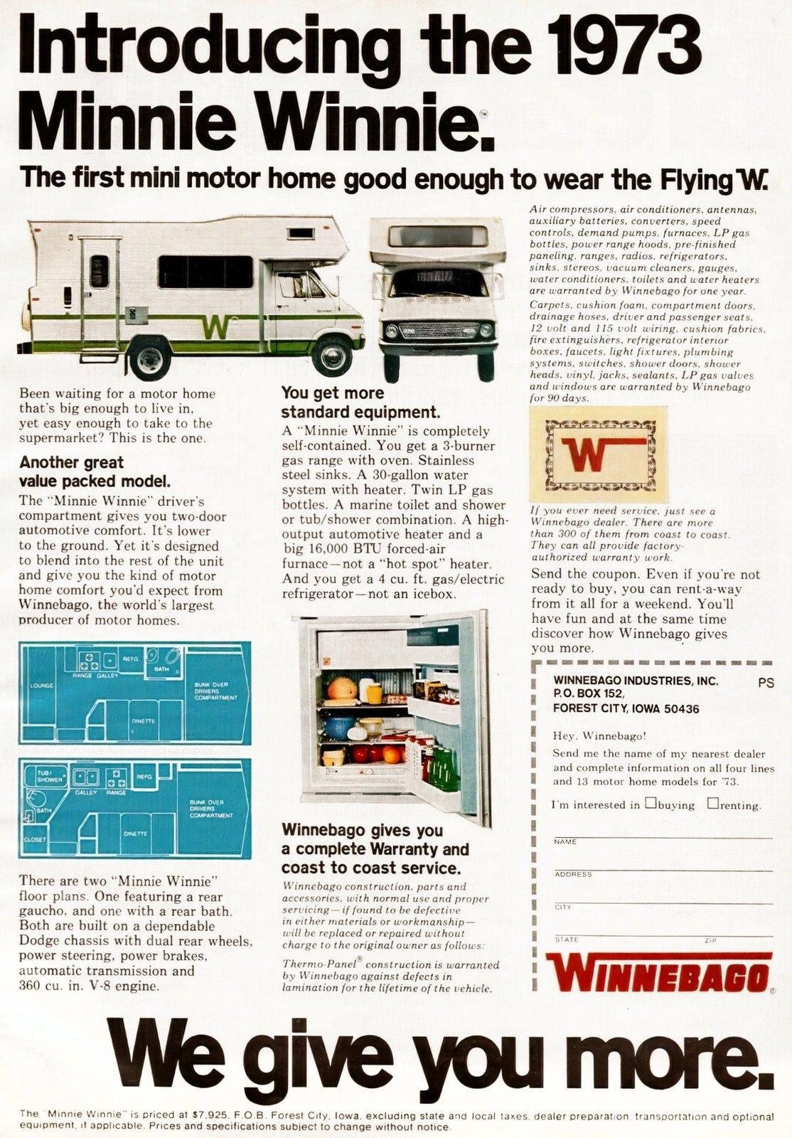 1973 Minnie Winnie motor home - Winnebago