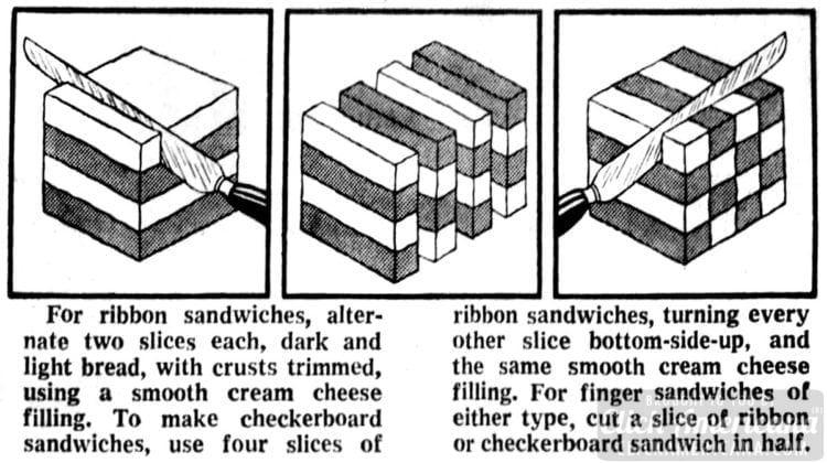 1973 Ribbon and checkerboard sandwich loaf how-to