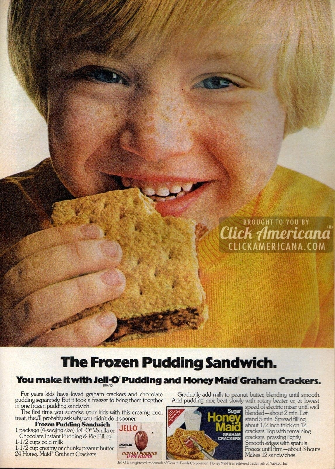 Frozen pudding sandwiches with chocolate & peanut butter (1973)