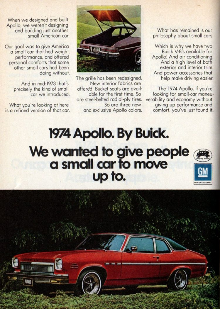 1974 Apollo. By Buick.