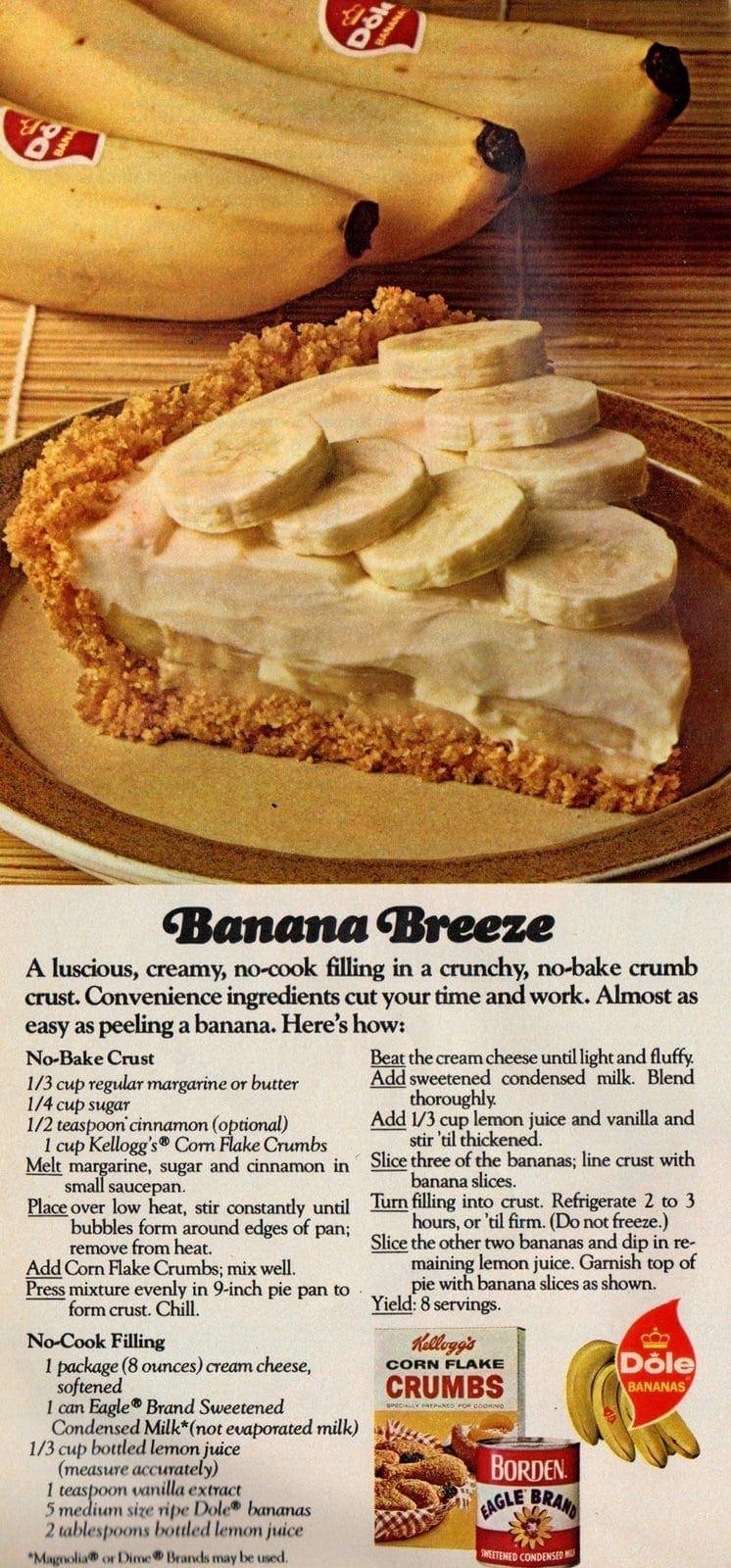 1974 Banana Breeze pie recipe