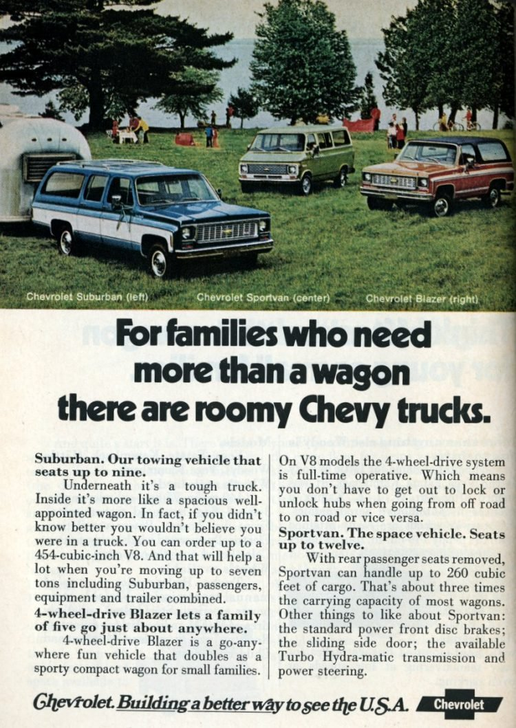 1974 Chevrolet Suburban, Chevrolet Sportvan, Chevrolet Blazer
