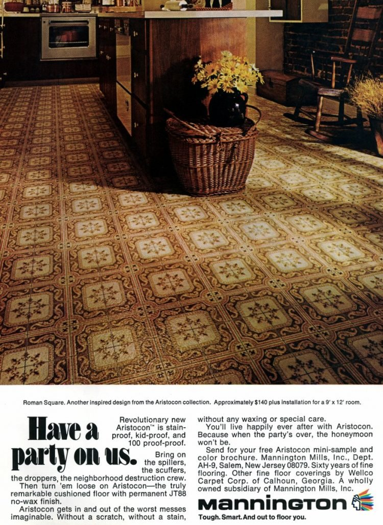 1974 mannington roman square linoleum floors
