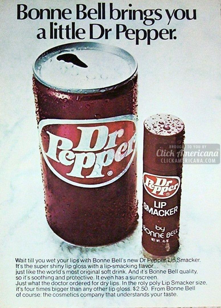 1975 Bonne Bell Lip Smackers Dr Pepper ad