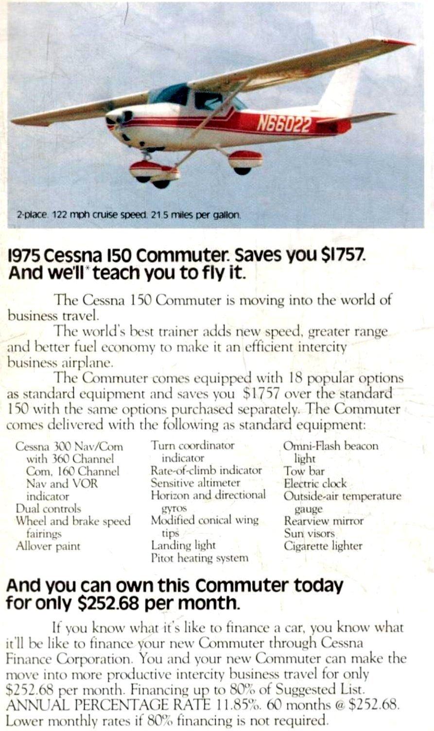 1975 Cessna 150 commuter plane