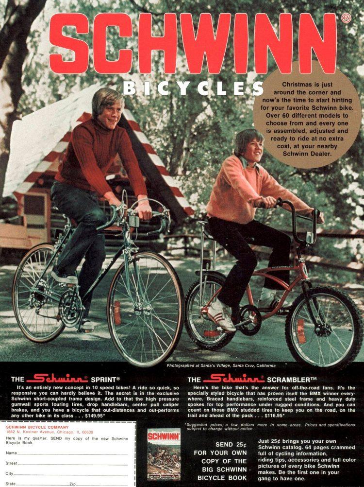 1975 Schwinn bicycles - 10 speed Sprint
