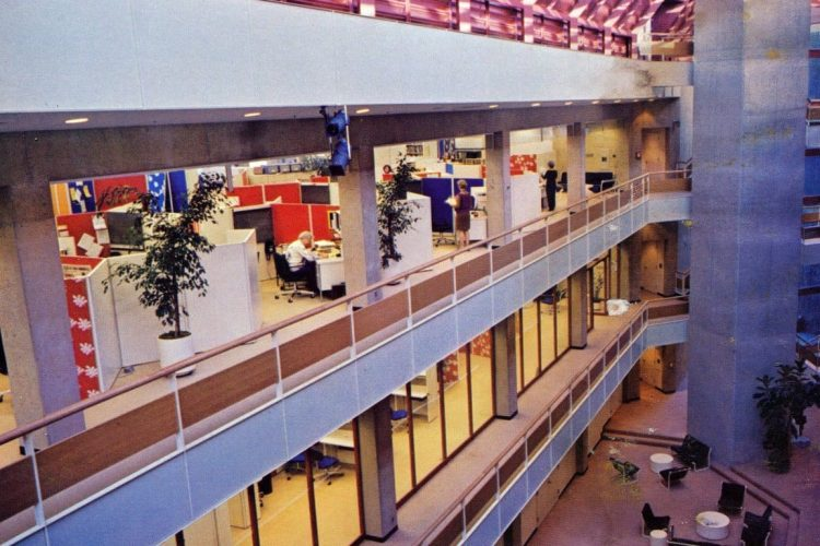 14 pictures of early office cubicles & retro open plan office layouts (1975)