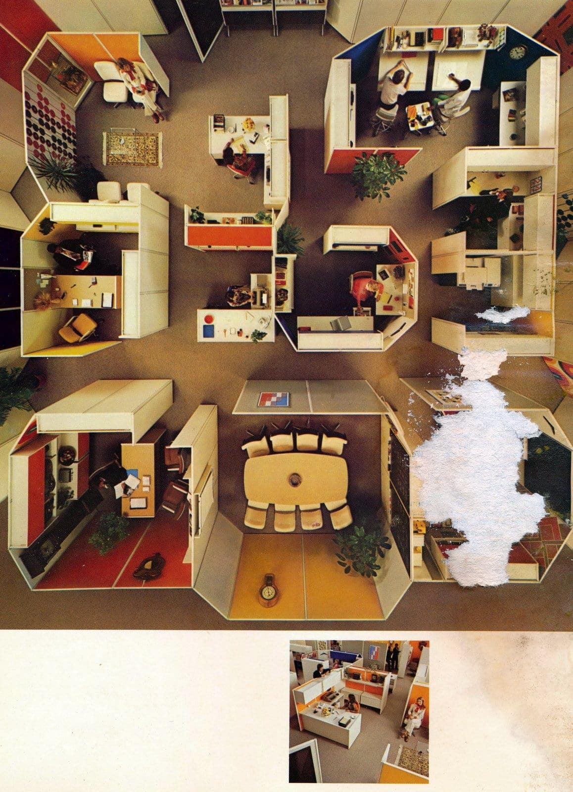 Old-fashioned office floorplans from the '70s
