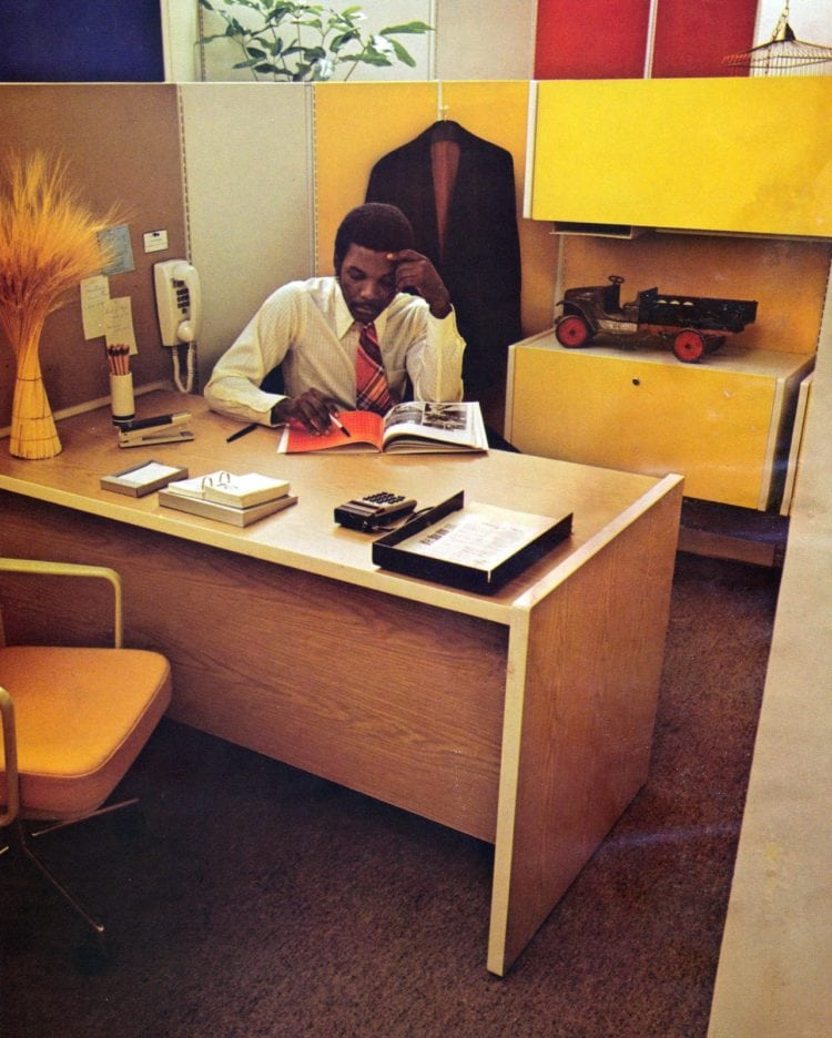 Vintage office open plan system with cubicles