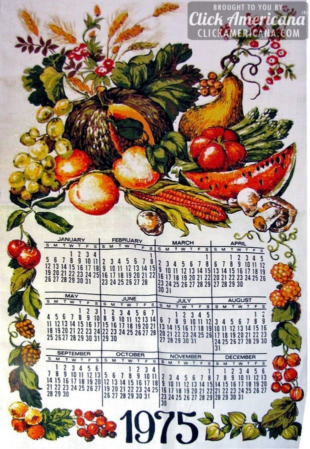 1975 vintage tea towel calendars: Vegetables, fruit, gourds and grains