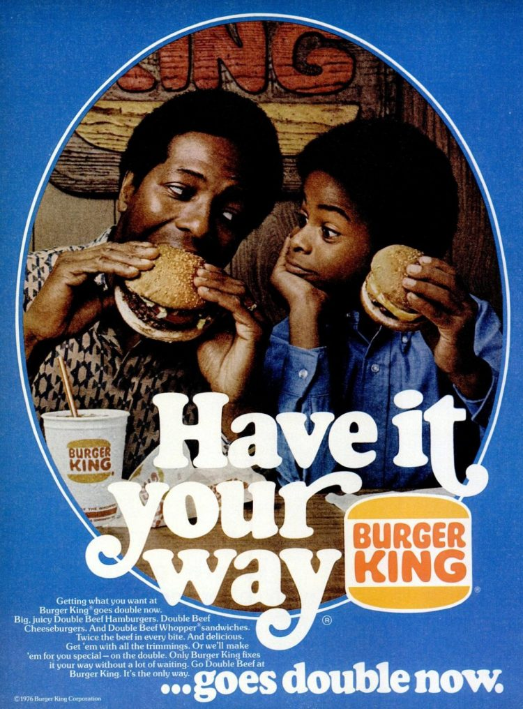 1976 Burger King vintage fast food