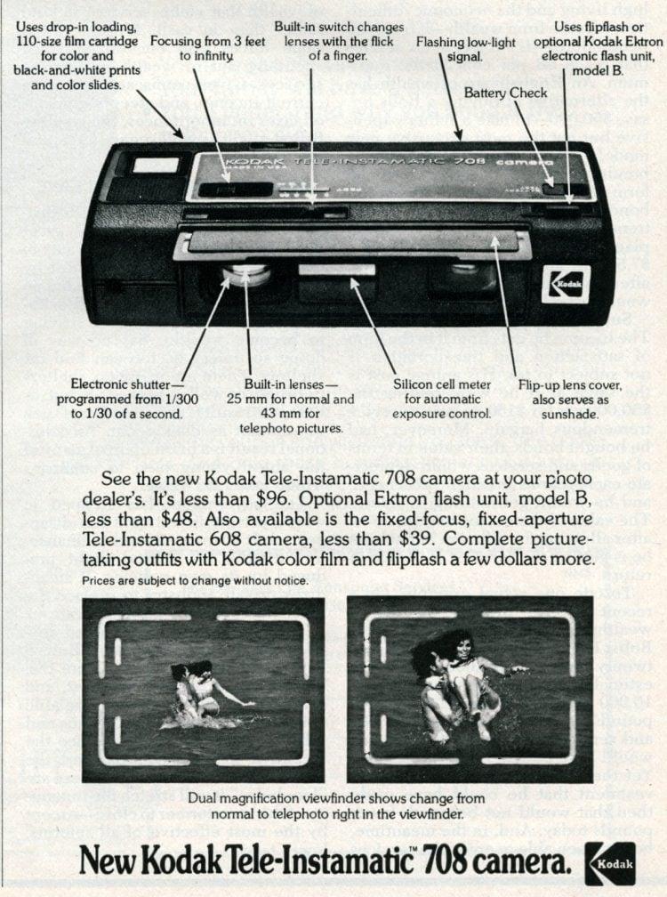1976 New Kodak Tele-Instamatic 708 camera