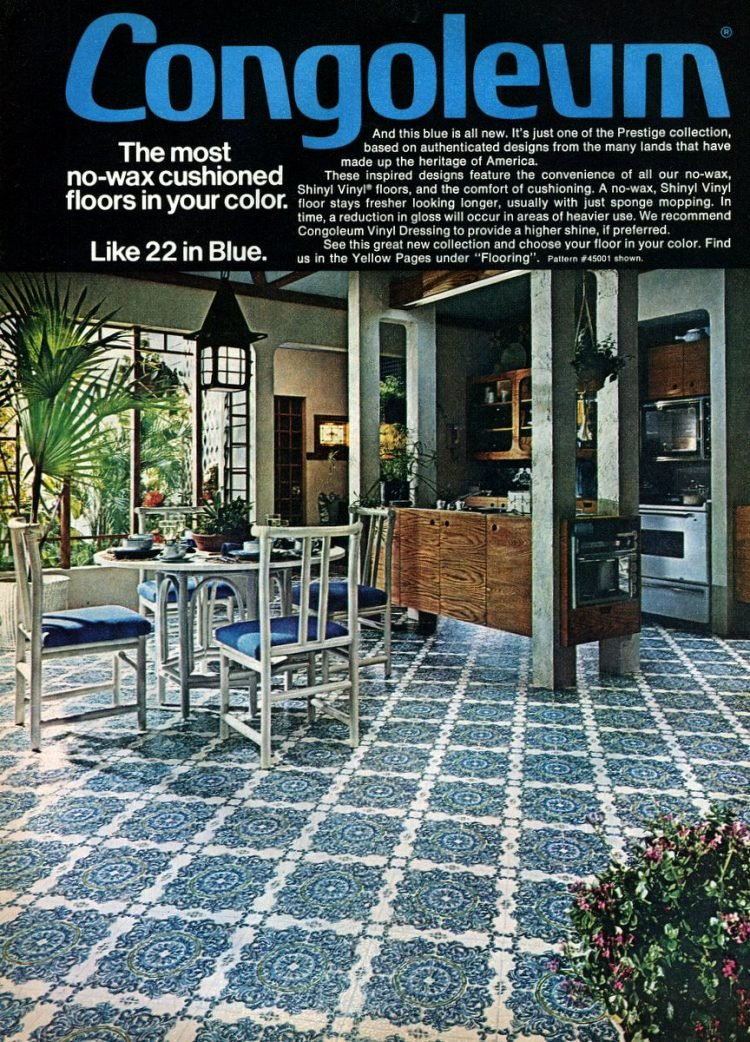 1976 blue vintage linoleum floors