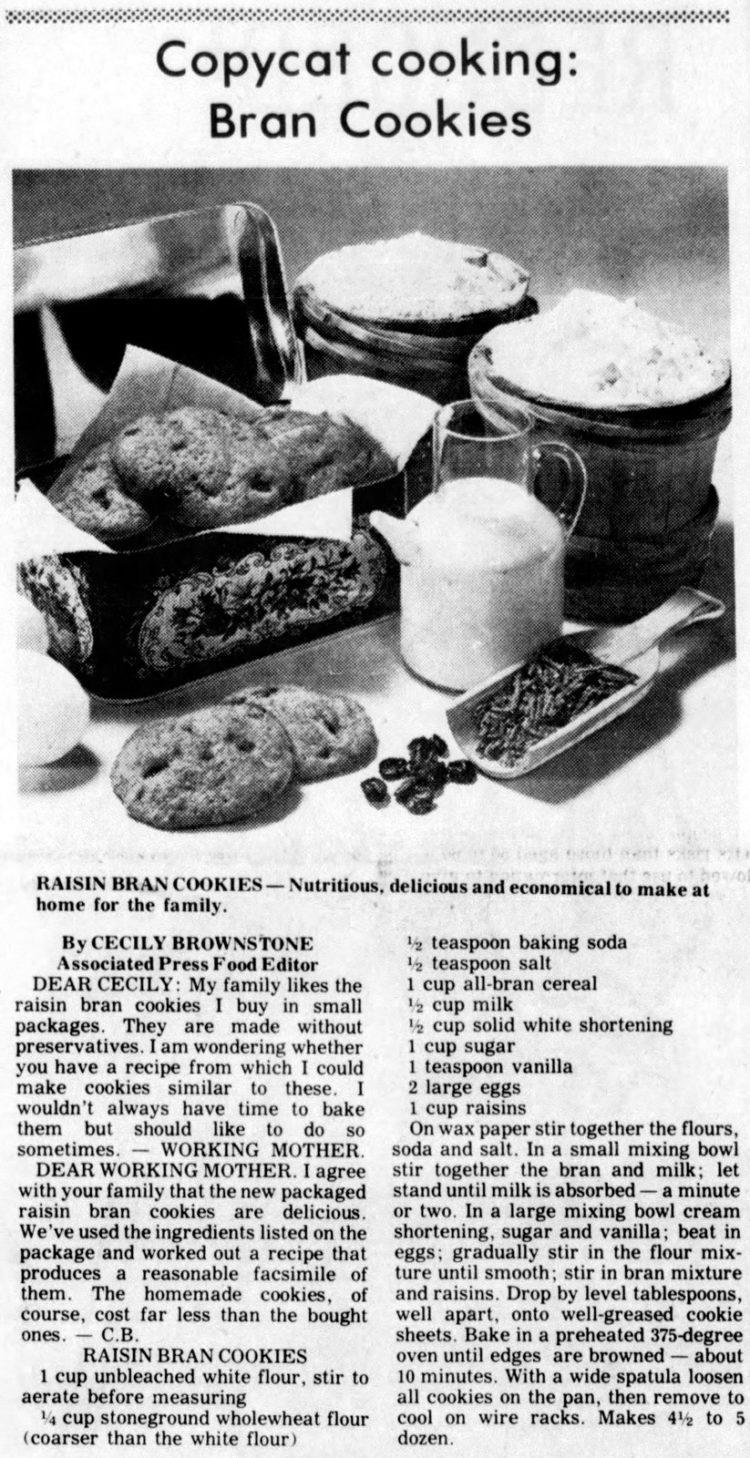 1976 raisin bran cookies recipe